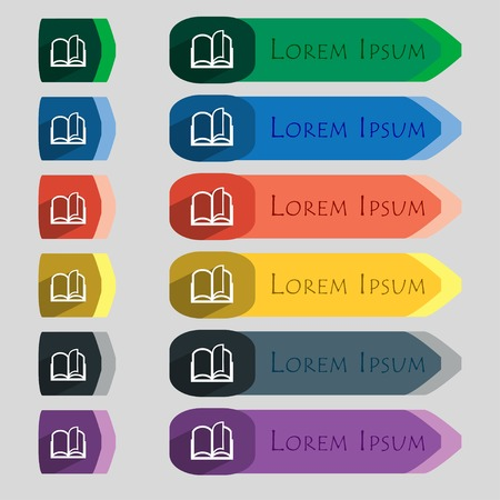 Book sign icon. Open book symbol. Set of colored buttons. Vector illustration Illustration