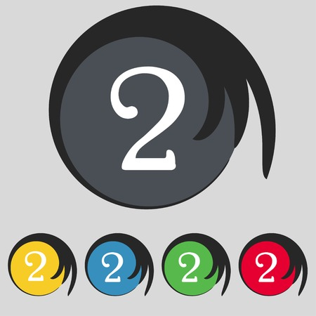 Second place award sign. Winner symbol. Step two. Set of coloured buttons. Vector illustration Vector