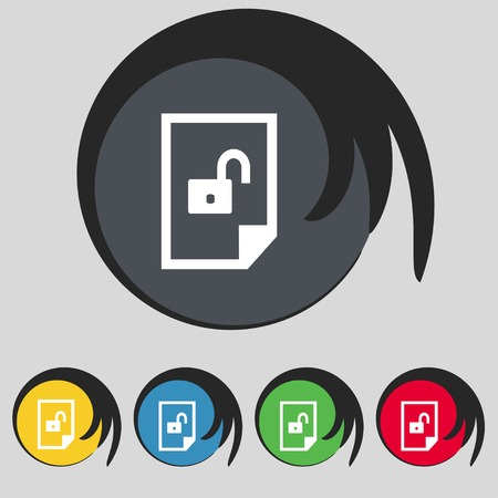 File unlocked icon sign. Set of coloured buttons. Vector illustration Illustration