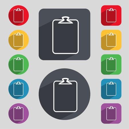 załączyć: Plik załącznik ikonę. Spinacz symbol. Dołącz znak. Zestaw kolorowych przycisków. Ilustracji wektorowych