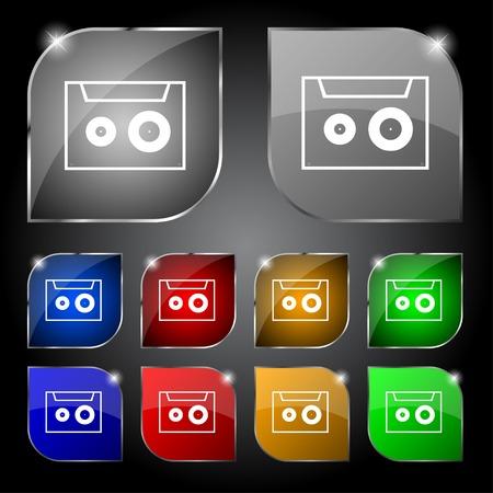 cassette sign icon. Audiocassette symbol. Set of colour buttons. Vector illustration
