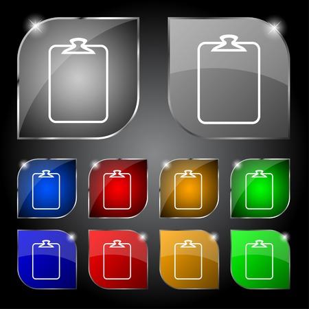 attach?: Archivo icono anexo. S�mbolo de clip de papel. Adjuntar signo. Conjunto de botones de colores. Ilustraci�n vectorial Vectores