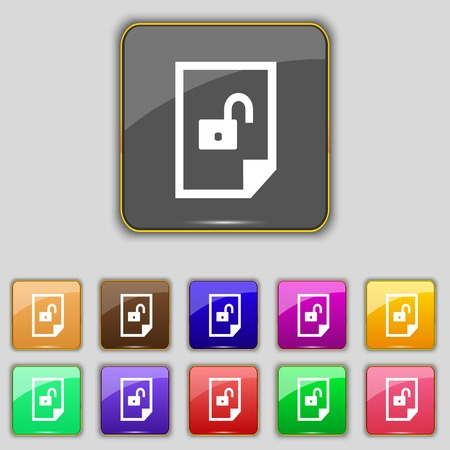 lockout: File unlocked icon sign.