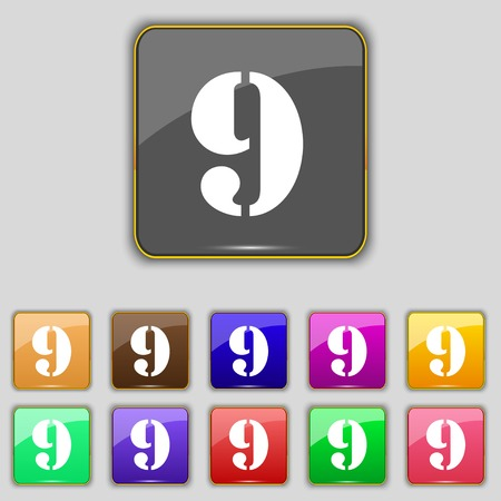 number Nine icon sign.