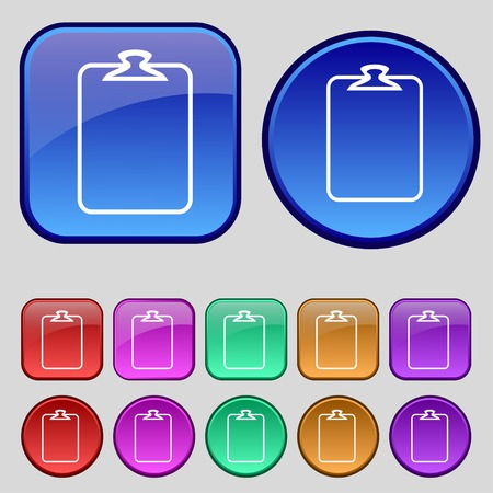 File annex icon. Paper clip symbol. Attach sign. Set of coloured buttons. Vector illustration