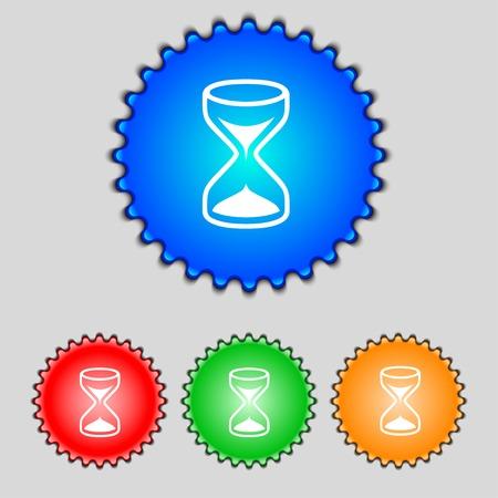 sand timer: Hourglass sign icon. Sand timer symbol. Set of colour buttons. Vector illustration Illustration
