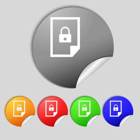 locked icon: File locked icon sign. Set of coloured buttons. Vector illustration