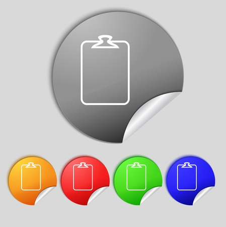 attach: File annex icon. Paper clip symbol. Attach sign. Set of coloured buttons. Vector illustration