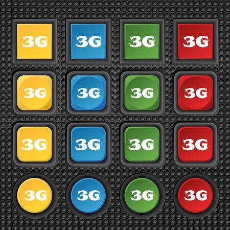 3g: Icono de se�al de 3G. Telecomunicaciones m�viles s�mbolo tecnolog�a. Conjunto de botones de color. Ilustraci�n vectorial Vectores