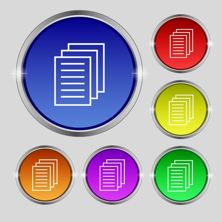 duplicate: Copy file sign icon. Duplicate document symbol. Set of coloured buttons. Vector illustration