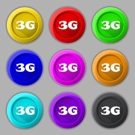 3g: Icono de se�al 3G. Telecomunicaciones m�viles s�mbolo tecnolog�a. Conjunto de botones de color. Ilustraci�n vectorial