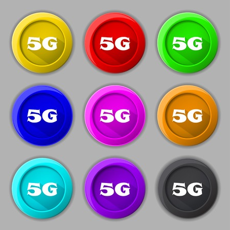 telecommunications technology: 5G sign icon. Mobile telecommunications technology symbol.  Set of colour buttons. Vector illustration