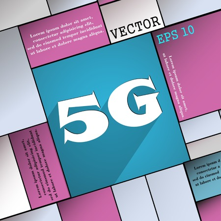 telephony: 5G icon symbol Flat modern web design with long shadow and space for your text. Vector illustration