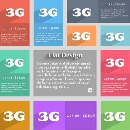 telecommunications technology: 3G sign icon. Mobile telecommunications technology symbol.  Set of colour buttons. Vector illustration