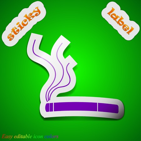 vaporizer: Smoking icon sign. Symbol chic colored sticky label on green background. Vector illustration