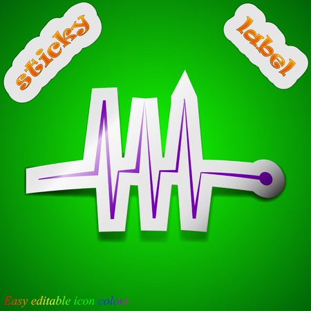 Cardiogram monitoring icon sign. Symbol chic colored sticky label on green background. Vector illustration Vector