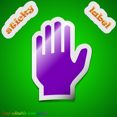 Hand print icon sign. Symbol chic colored sticky label on green background. Vector illustration Vector