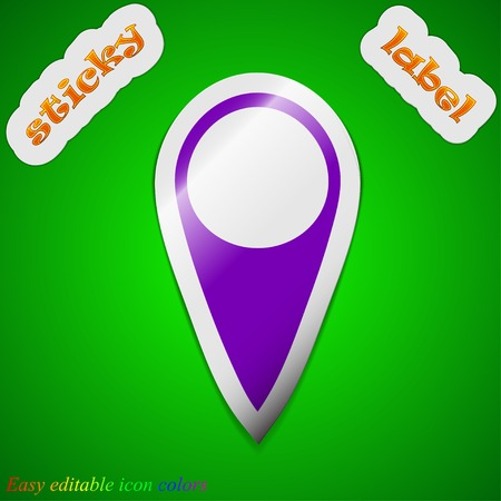 Map pointer icon sign. Symbol chic colored sticky label on green background. Vector illustration Vector