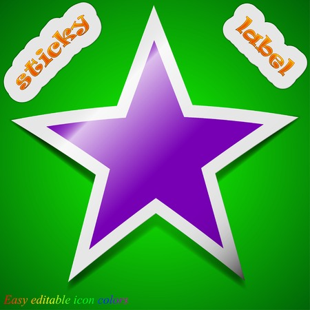 Star icon sign. Symbol chic colored sticky label on green background. Vector illustration Vector