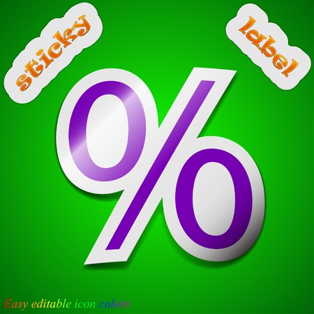 Discount percent icon sign. Symbol chic colored sticky label on green background. Vector illustration Vector