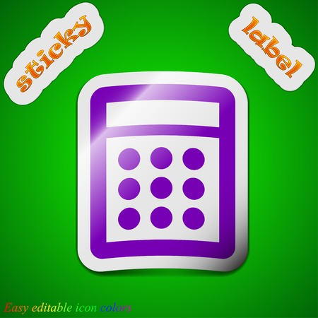 Calculator icon sign. Symbol chic colored sticky label on green background. Vector illustration Vector