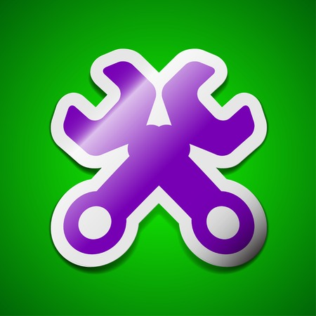 screw key: Wrench key icon sign. Symbol chic colored sticky label on green background. Vector illustration