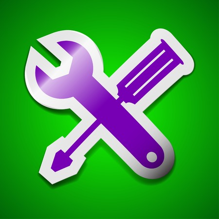screw key: screwdriver with wrench icon sign. Symbol chic colored sticky label on green background. Vector illustration