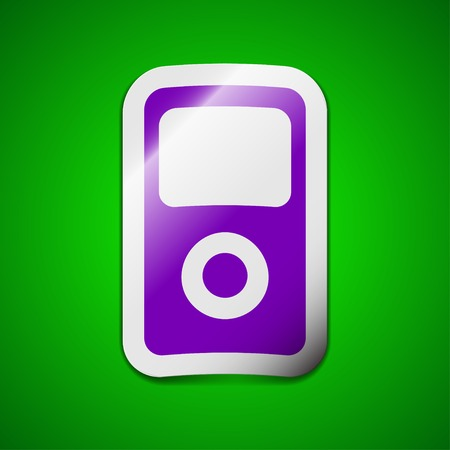 portable player: Portable musical player icon sign. Symbol chic colored sticky label on green background. Vector illustration