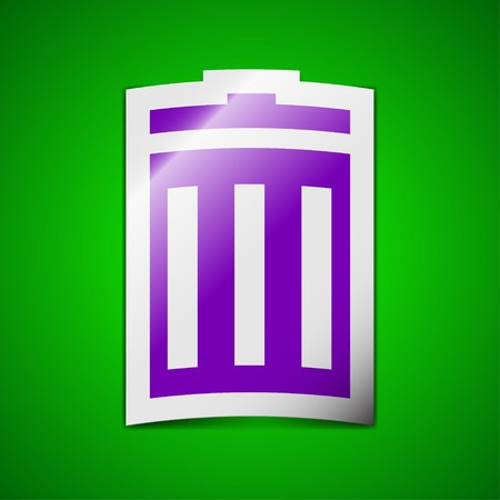 utilization: Recycle bin icon sign. Symbol chic colored sticky label on green background. Vector illustration Illustration