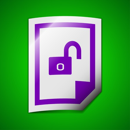 lockout: File unlocked icon sign. Symbol chic colored sticky label on green background. Vector illustration