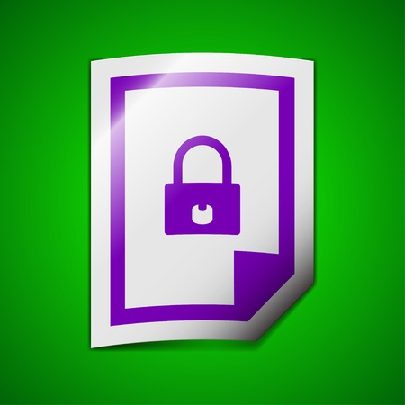 lockout: file locked icon sign. Symbol chic colored sticky label on green background. Vector illustration Illustration