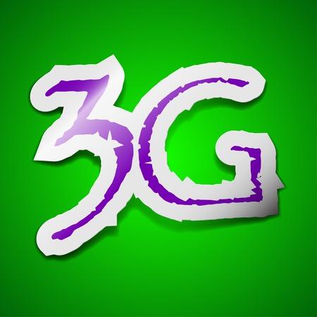 3g: 3G signo icono de la tecnolog�a. S�mbolo elegante de color etiqueta adhesiva sobre fondo verde. Ilustraci�n vectorial