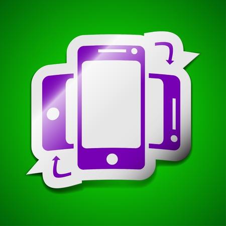 synchronization: Synchronization icon sign. Symbol chic colored sticky label on green background. Vector illustration Illustration