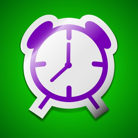 wake up call: Alarm clock icon sign. Symbol chic colored sticky label on green background. Vector illustration