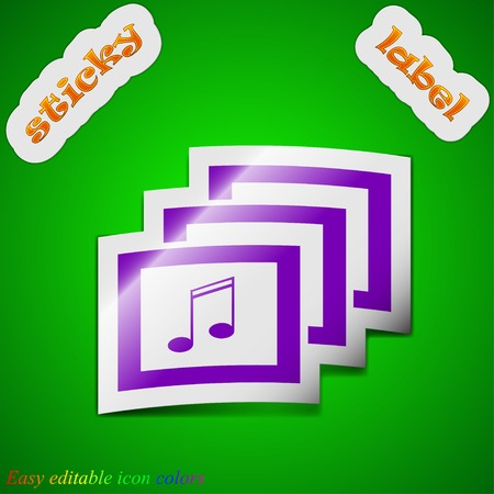 Mp3 music format icon sign. Symbol chic colored sticky label on green background. Vector illustration Vector