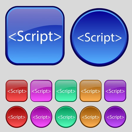 javascript: Script sign icon. Javascript code symbol. Set of colored buttons. Vector illustration