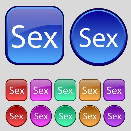 Safe love sign icon. Safe sex symbol. Set of colored buttons. Vector illustration Vector