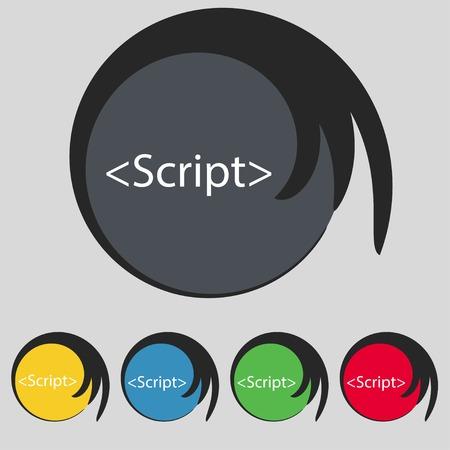 javascript: Icono de signo Script. S�mbolo de c�digo Javascript. Conjunto de botones de colores. Ilustraci�n vectorial Vectores