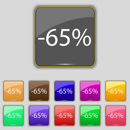 65: 65 percent discount sign icon. Sale symbol. Special offer label. Set of colored buttons Vector illustration