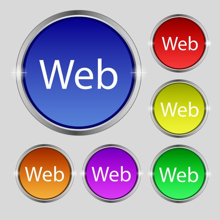 Web sign icon. World wide web symbol. Set of colored buttons. Vector illustration