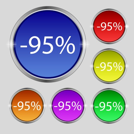 95: 95 percent discount sign icon. Sale symbol. Special offer label. Set of colored buttons Vector illustration