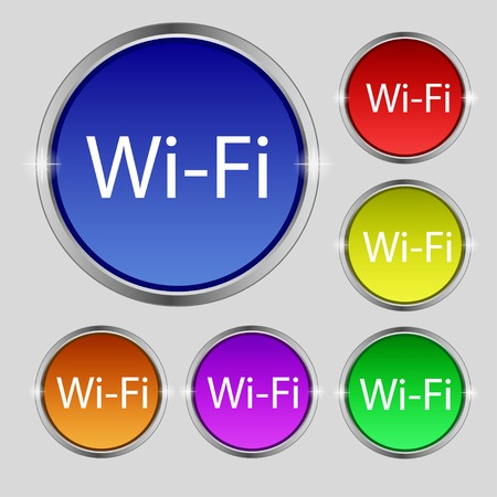 Free wifi sign.  Wireless Network icon Set of colored buttons. Vector illustration Vector