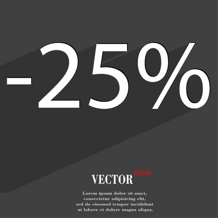 25 percent discount icon symbol Flat modern web design with long shadow and space for your text. Vector illustration Illustration