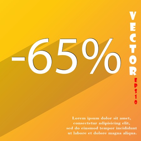 65: 65 percent discount icon symbol Flat modern web design with long shadow and space for your text. Vector illustration Illustration