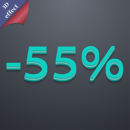 55 percent discount icon symbol. 3D style. Trendy, modern design with space for your text Vector illustration Vector