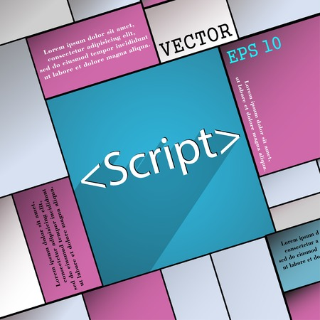 js: Script icon symbol Flat modern web design with long shadow and space for your text. Vector illustration