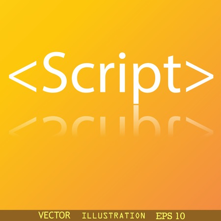 js: Script icon symbol Flat modern web design with reflection and space for your text. Vector illustration