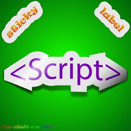 js: Script icon sign. Symbol chic colored sticky label on green background. Vector illustration Illustration