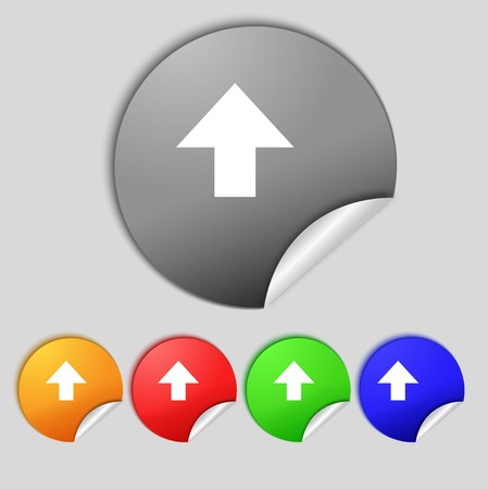 this side up: This side up sign icon. Fragile package symbol. Set colourful buttons.  illustration Stock Photo
