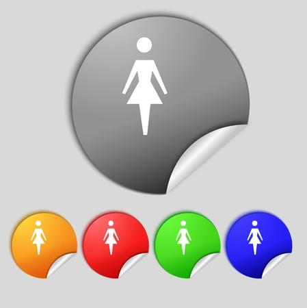 simbolo de la mujer: Mujer icono de la muestra. Mujer s�mbolo humano. Mujeres inodoro. Establecer ilustraci�n botones de color